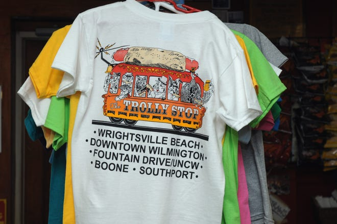 The Trolly Stop hot dog shop at 94 S. Lumina Ave. in Wrightsville Beach has some of the most iconic T-shirts in the Wilmington area.