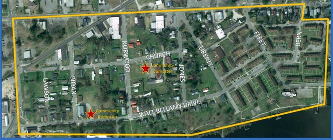This map shows the targeted area for a Jan. 29 Neighborhoold Clean-up by the New Bern Redevelopment Commission and the city of New Bern.
