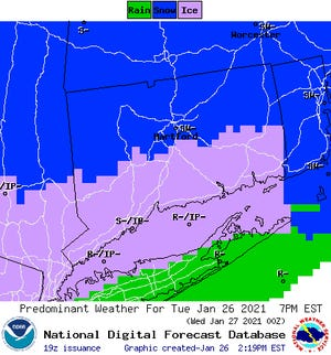 "The National Weather Service predicts 2-4"" of snow for most of Connecticut."