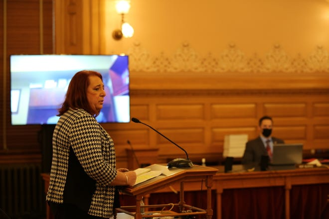 Rep. Stephanie Byers, D-Wichita, and a member of the Chickasaw Nation, testifies Tuesday at the Statehouse in support of a bill changing Columbus Day to Indigenous Peoples Day in Kansas.