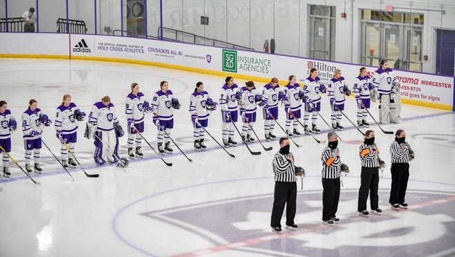 The Holy Cross women's hockey team's season will remain on pause through this week.
