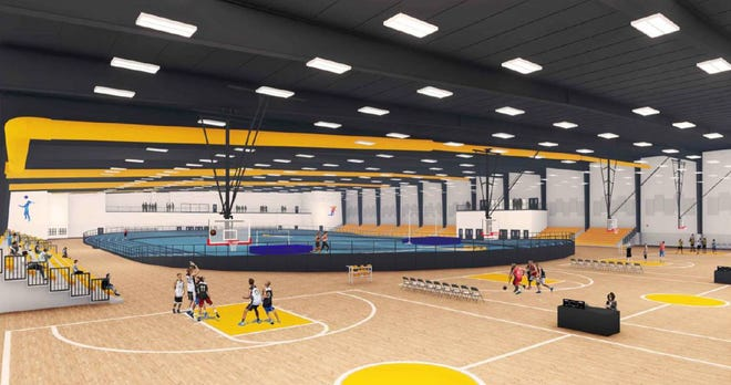 A rendering of a proposed sports events center at Celebration Pointe in west Alachua County shows basketball courts, spectator seating and an indoor track. The county is willing to contribute $30 million toward developing the project to encourage sports tourism. [Alachua County government]
