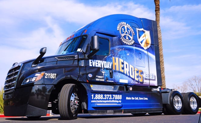 On  Jan. 8, Swift Transportation unveiled its wrapped truck honoring Truckers Against Trafficking. The wrap provides a number to call to report suspicious activity.
