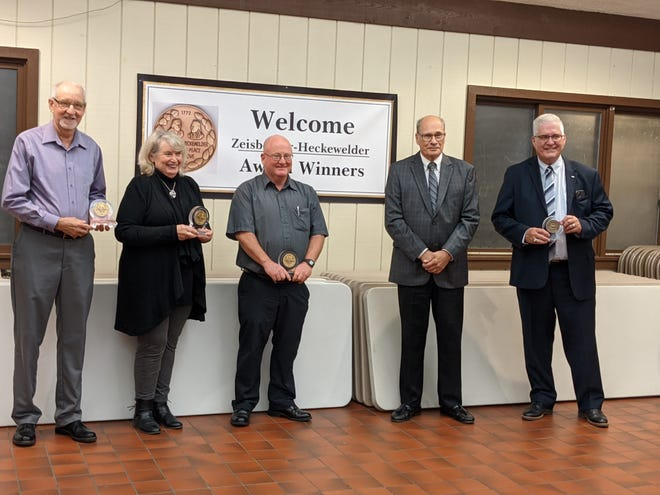 Nominations are open for the Tuscarawas County Historical Society's annual Zeisberger Heckewelder Award through Feb. 28. Pictured: The 2020 winners. From left, John Heil, Tuscarawas County Center for the Arts, Brian Ice, Society President David Hipp and John Herzig.