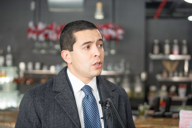 Pueblo County Commissioner Garrison Ortiz speaks about the impact of the Five Star Variance program at 1129 Spirits and Eatery on Tuesday January 26, 2021.
