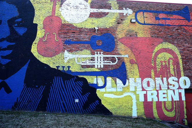 The Alphonso Trent mural completed by UAFS art students on the side of the Blue Lion Downtown as part of the Unexpected, as seen Tuesday, Jan. 26.