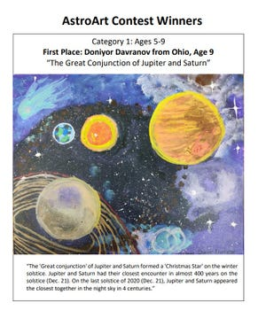 Doniyor Davranov, a third-grader at Hilliard Horizon Elementary, was recognized for his artwork in a contest presented by Ohio State University. Three Hilliard Online Academy students star in astronomy-themed art contest - 4ce2f577 bb19 4f3e 97d7 2ac6befe37fc 0204hiDavranov - Three Hilliard Online Academy students star in astronomy-themed art contest