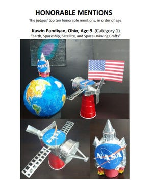 Kawin Pandiyan, a fifth-grader at Hilliard Horizon Elementary, was recognized for his 3D artwork in a contest sponsored by Ohio State University. Three Hilliard Online Academy students star in astronomy-themed art contest - e208851a e575 4065 8307 54cc22dd2312 0204hiPandiyan - Three Hilliard Online Academy students star in astronomy-themed art contest