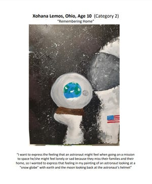 Xohana Lemos, a fifth-grader at Scioto Darby Elementary School, was recognized for her artwork in a contest presented by Ohio State University. Three Hilliard Online Academy students star in astronomy-themed art contest - f9f02917 68e1 4174 875d 0dfb923043a7 0204hiLemos - Three Hilliard Online Academy students star in astronomy-themed art contest