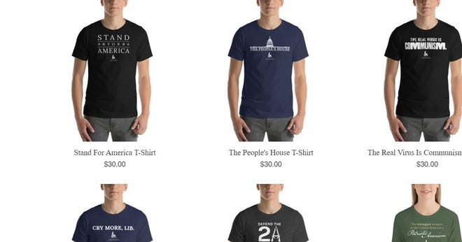 """U.S. Rep. Madison Cawthorn, R-Hendersonville, was selling, """"Cry More, Lib"""" T-shirts on his campaign site into January, despite saying he regretted issuing a tweet with that phrase the night he won election. The shirt is picture at below left, selling for $30. It was removed in late January."""
