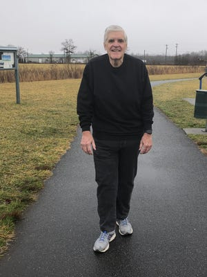 Bill Hoffard, at Mills River Park, where he walks five miles a day. After gaining weight during the pandemic and reaching out to his physician, he's now down 50 pounds since October.