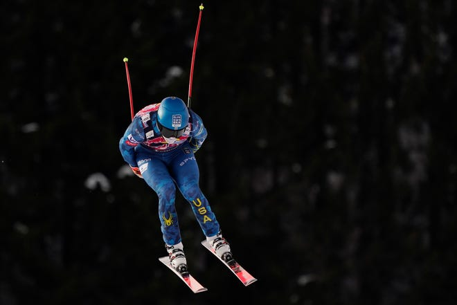 United States' Ryan Cochran Siegle speeds down the course during training for an alpine ski, men's World Cup downhill in Kitzbühel, Austria, Thursday, Jan. 21, 2021. (AP Photo/Giovanni Auletta)