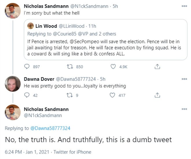 Twitter posts by Nick Sandmann surrounding comments by his former attorney, L. Lin Wood.