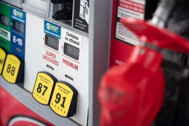 A Kum & Go gas pump is seen on Jan. 26, 2021, in Des Moines. Gov. Kim Reynolds says she will seek legislation that mandates all commercial renewable fuel sold in Iowa to contain at least 10% ethanol and 11% biodiesel.