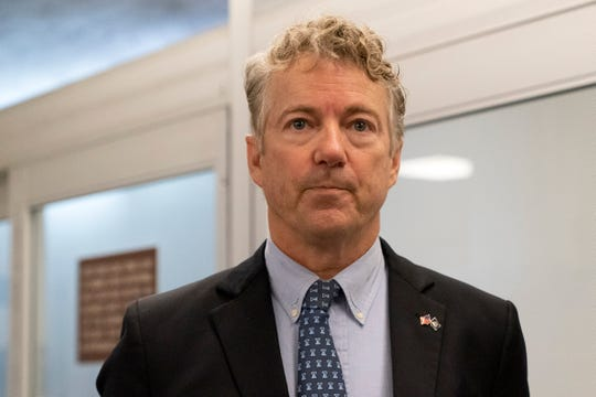 Sen. Rand Paul, R-Ky., listens to a reporter after speaking at the Senate on Tuesday, Jan. 26, 2021 in Washington. (AP photo/Jacquelyn Martin)