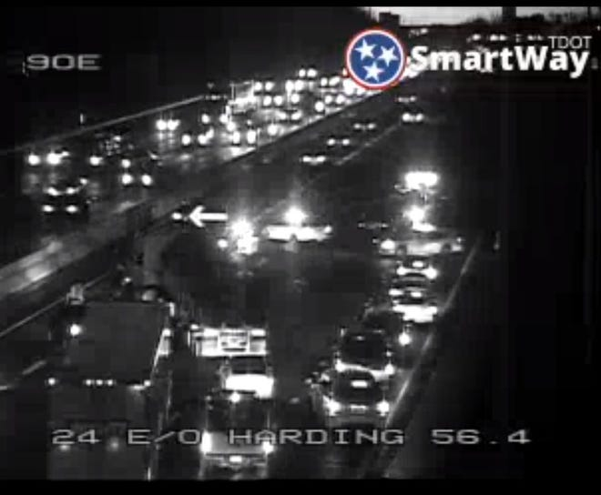 Interstate 24 eastbound closed after a multi-vehicle wreck early Tuesday morning.