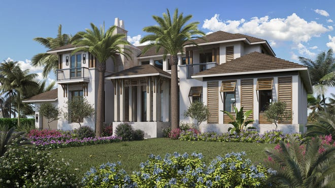 Rendering  of a new contemporary luxury home in Olde Naples under construction by Waterside Builders.
