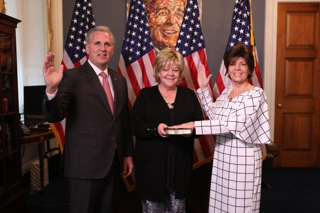 Congresswoman Yvette Herrell (R-N.M.) is sworn into the U.S. House of Representatives as a New Mexico representative for the 2nd congressional district on Jan. 4, 2021.