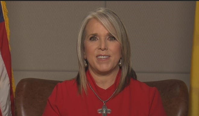 """Gov. Michelle Lujan Grisham delivers her virtual """"State of the State"""" address on Tuesday, Jan. 26, 2021."""