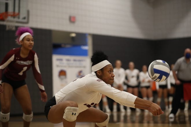 The New Mexico State volleyball team opened WAC play with a victory over Dixie State.