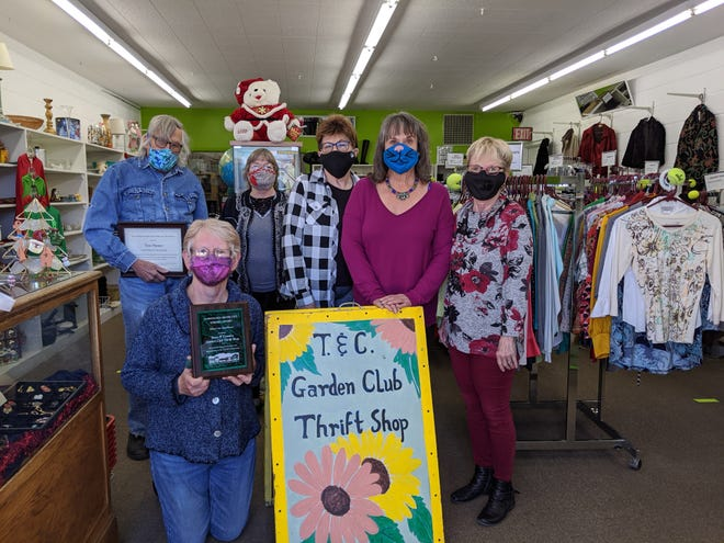 Town and Country Garden Club Thrift Shop, from left: Tom Hester, volunteer of the year; Dann-ben Seeland, secretary (kneeling); LuAnne Bruton, vice president; Joella McNally, treasurer; Nancy Fischer, co-manager; and Katy Martino, co-manager.