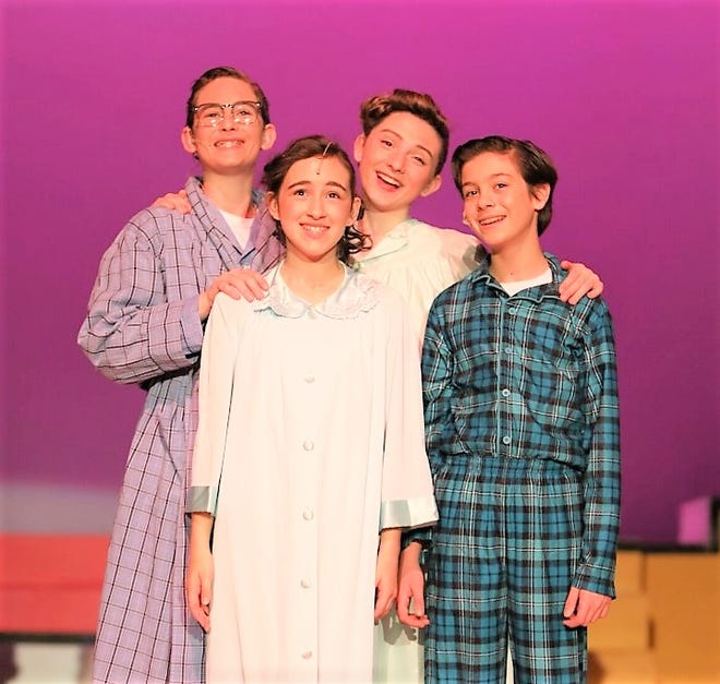 """Northville's Anthony Gennaro, far right, performs in a version of """"Bye, Bye Birdie."""""""