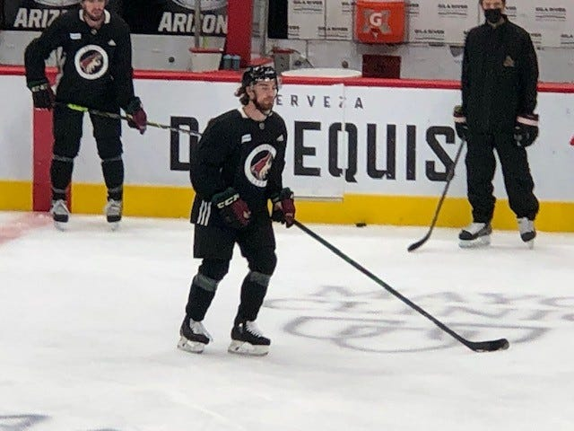 Arizona Coyotes defenseman Jordan Gross take part in Tuesday's morning skate at Gila River Arena.