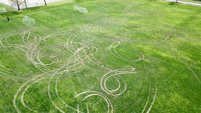 This photo provided by Anderson police shows the damage to the  Anderson River Park Soccer Field. The incident was reported on April 5, 2020.