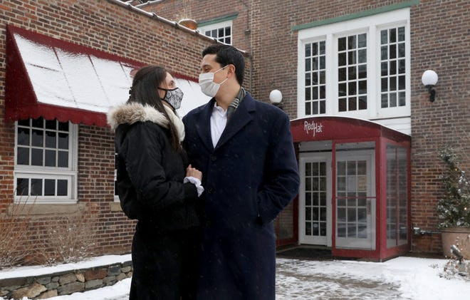 Alexa Blanco and James Sears are pictured outside of the Red Hat on the River restaurant in Irvington, Jan. 26, 2021. Sears found Blanco on a dating app and they had their first date at the restaurant on the Hudson River.