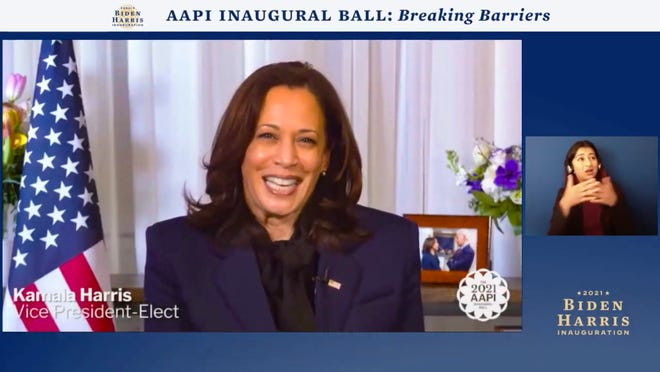 In this screengrab, Vice President-Elect Kamala Harris speaks during the AAPI Inaugural Ball hosted by the Biden Inaugural Committee on Jan. 19, 2021.The virtual event celebrated contributions by the nation's Asian Americans and Pacific Islanders. Some in the community hope that Harris' South Asian background will help raise its profile in the absence of an AAPI Cabinet secretary.