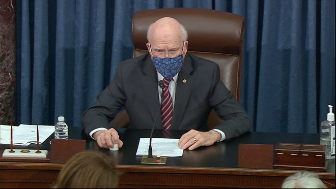 In this image from video, Sen. Patrick Leahy, D-Vt., presides over the Senate as House impeachment manager deliver the article of impeachment alleging incitement of insurrection against former President Donald Trump, in Washington, Monday, Jan. 25, 2021.
