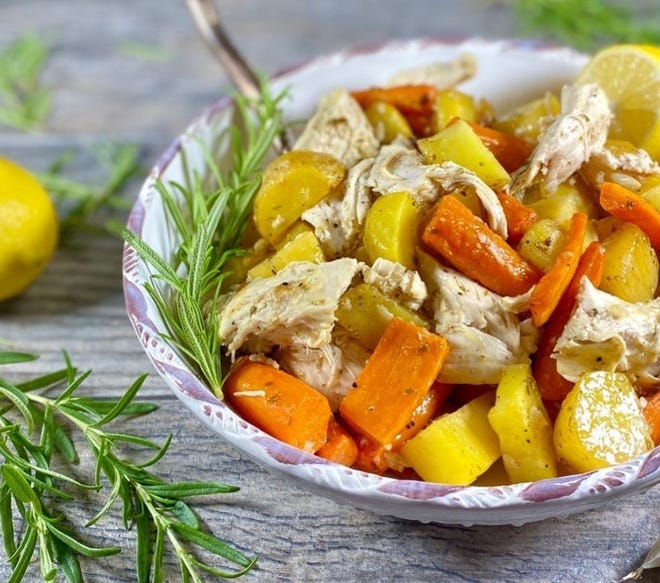 Deana Evans (@deana_evans), who blogs attheweeklymenubook.com,recently posted about this roasted chicken with potatoes and carrots. She useslemon, garlic, olive oil and rosemary to create a flavorful sauce that seasons the whole pan.