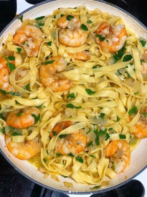 Taylor Francis of @doievencook made this simple pasta and shrimp dish in January.
