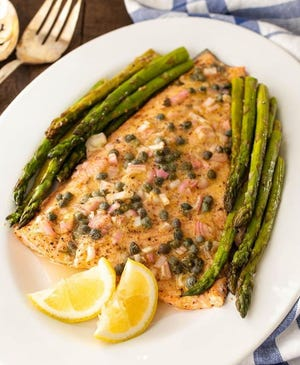 Marie Saba made this roasted trout and asparagus dish in less than 20 minutes recently. You could also use salmon, the Austin recipe developer says.