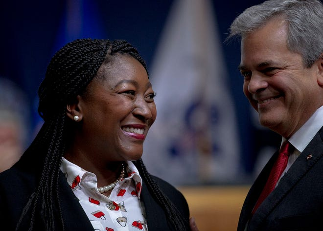 Austin City Council Member Natasha Harper-Madison is greeted by Mayor Steve Adler as she prepares to takes her oath of office on Jan. 7, 2019. Harper-Madison will be Austin's mayor pro tem for 2021, the council decided this week.