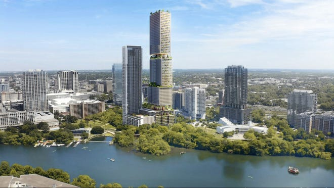 A 64-story mixed-use tower planned at the foot of Rainey Street is slated to have a hotel, apartments and condominums.[Skidmore, Owings & Merrill]