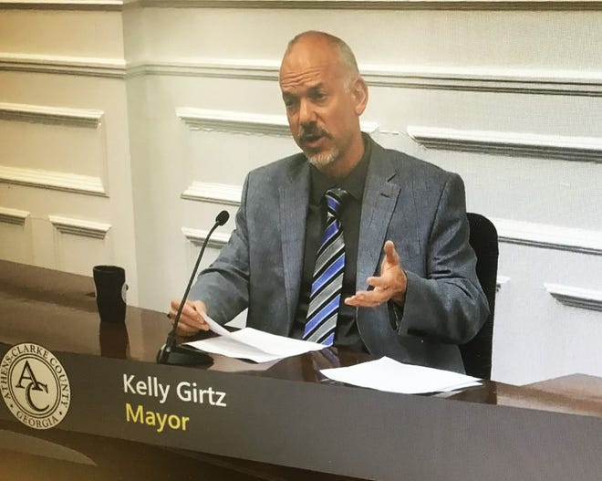 Athens-Clarke County Mayor Kelly Girtz delivers his State of the Community address Wednesday. [Wayne Ford/Athens Banner-Herald]