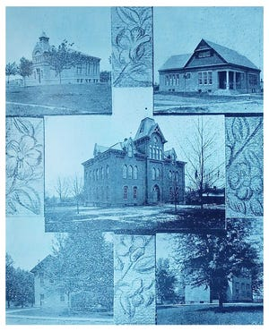 A photograph of Ashland City schools. The old High School is in the center. The top photos are Fourth Street and Bank Street schools, and the bottom photos are the old Walnut Street school on the left and the old Pleasant Street school on the right.