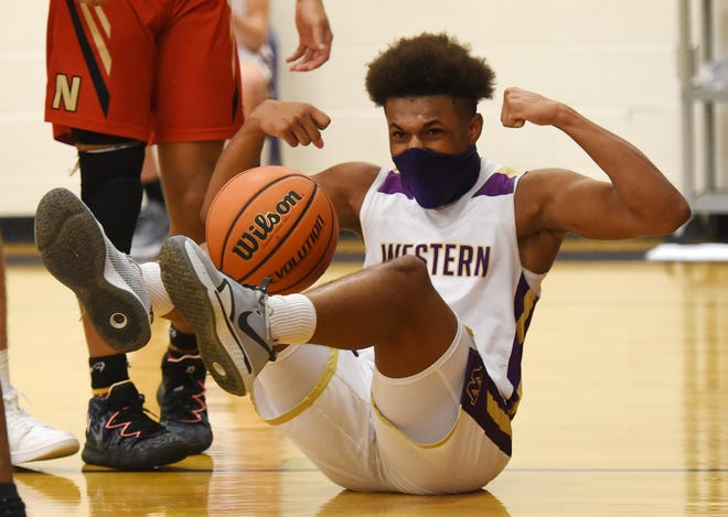 Western Beaver's Lonnie Craft reacts after being fouled during Tuesday night's game against Northgate.