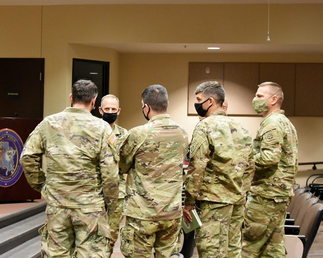 Col. Theodore W. Kleisner (second from the left), 1st Brigade Combat Team, 82nd Airborne Division commander, speaks to leaders after an initial brief covering the key focus areas of the Leader Training Program Jan. 21.