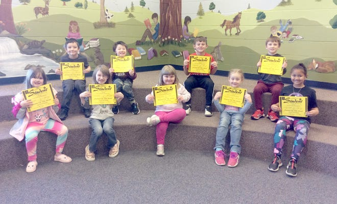 Hannah Cole January First Grade Students of the Month: Front Row:  Emma Scott, Amzie Holley, Katrina Thomann, Payton Priesendorf, Brooklyn Rogers Back Row:  Zander Bruce, Dylan Biggs, Channing Lowe, Will Thacher  (Not Pictured:  Cade Brimer)