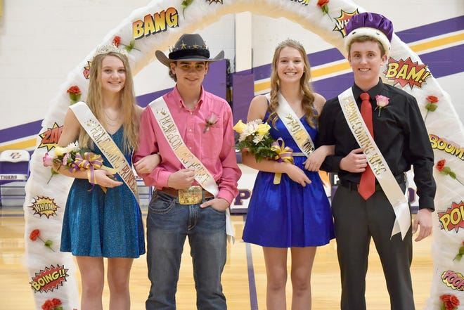 """Pilot Grove Homecoming took place on Saturday, Jan. 23. The theme was """"A Tiger's Tale - a Cartoon/Fairytale Homecoming."""" Winners Picture Left to Right:  Marci Lammers (Princess), Hunter Watring (Prince), Danae Lammers (Queen), Dylan Schupp (King)."""