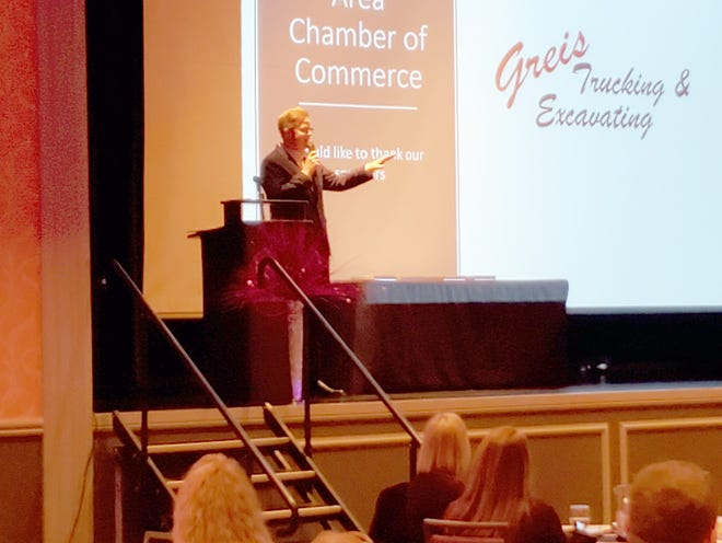 Missouri Senate Majority Leader Caleb Rowden speaks at the Chamber Meeting before taking questions from the audience.