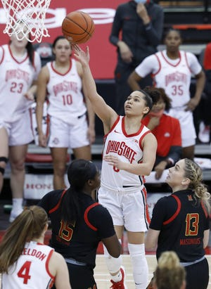 Ohio State guard Madison Greene, here shooting in Monday's win over Maryland, said she and her teammates are working to stay even-keeled on the heels of victories over Michigan and Maryland.