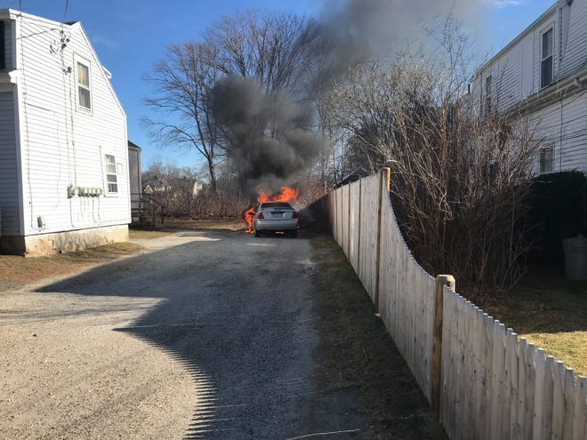 Firefighters in Falmouth extinguished a car fire near King Street Monday afternoon. [Photo courtesy Falmouth Fire Rescue Department]