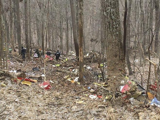 Three members of a Survival Flight medical mission were killed Jan. 29, 2019 when their helicopter crashed in poor weather conditions in pre-dawn hours in the wooded hills of a state forest in Vinton County.  This photo from the Ohio State Highway Patrol shows the debris field following the crash.