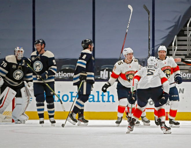 The Florida Panthers' Patric Hornqvist (70) scores a game-tying goal against the Blue Jackets with 2.5 seconds left in regulation to send the game into overtime Tuesday night at Nationwide Arena. Hornqvist also scored to send the shootout that decided the game for the Panthers.