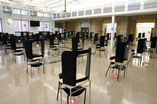 Though no students have attended classes in-person since March, the cafeteria at Linden-McKinley High School was set up as a standardized testing site in late December.
