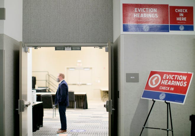 Eviction hearings at the temporary Franklin County Municipal Court setup in the Convention Center, Tuesday, January 26, 2021.