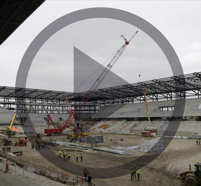 In this file photo, the final steel beam was placed in the construction of the new Crew Stadium near downtown Columbus on Thursday, January 8, 2021. The stadium is schedule to open in July 2021.